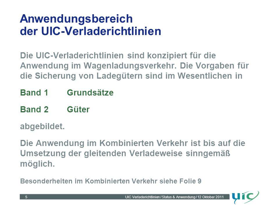 Anwendungsbereich der UIC-Verladerichtlinien