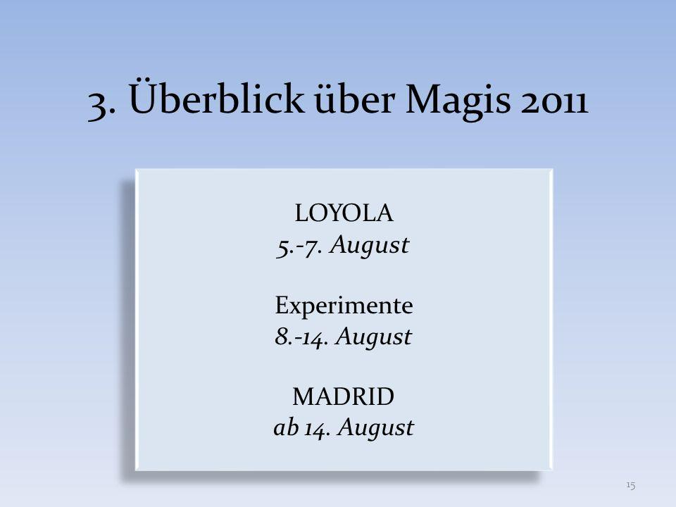 3. Überblick über Magis 2011 5.-7. August LOYOLA Experimente