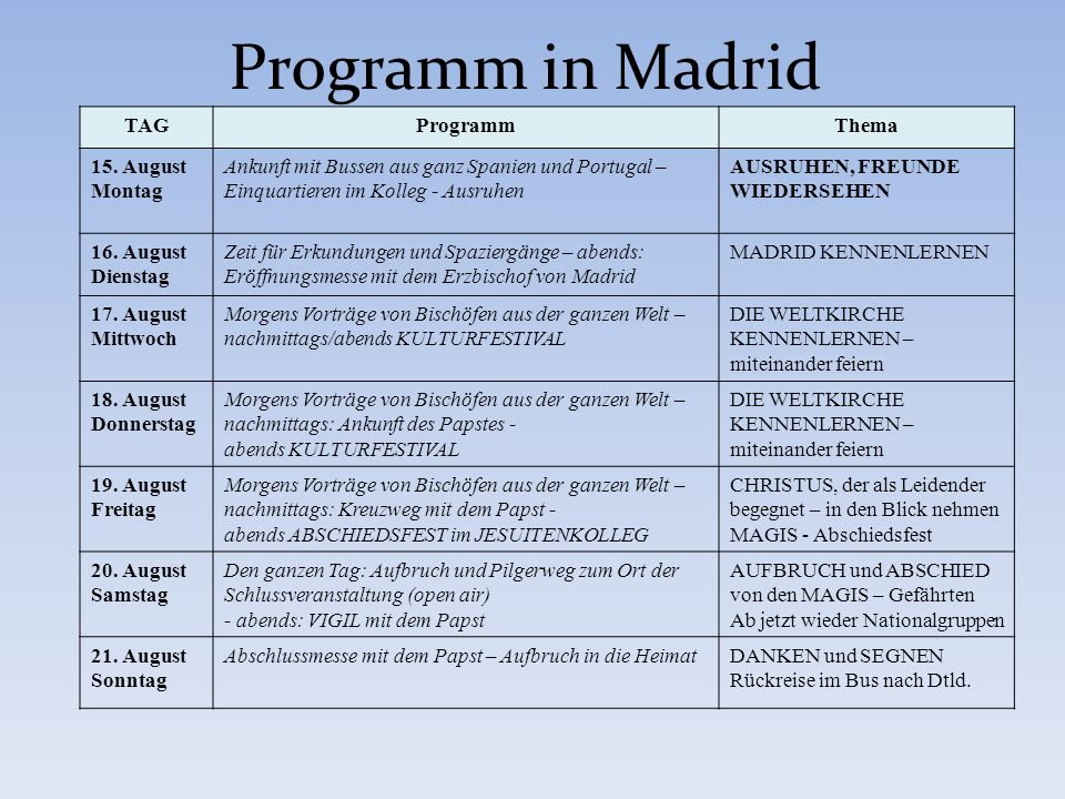 Programm in Madrid TAG Programm Thema 15. August Montag