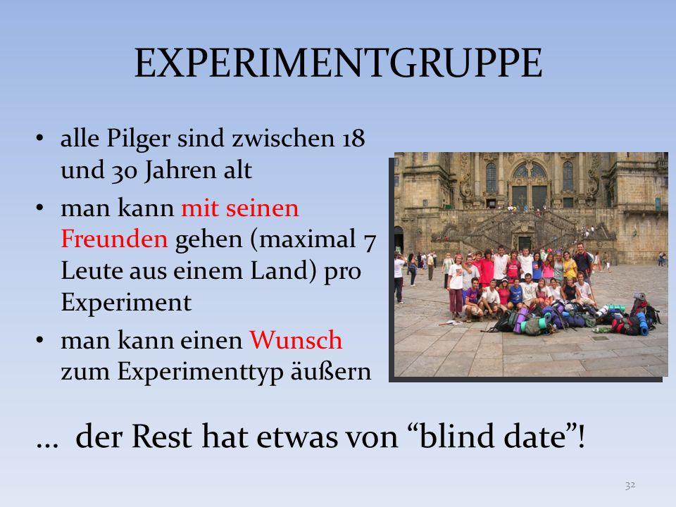 EXPERIMENTGRUPPE … der Rest hat etwas von blind date !