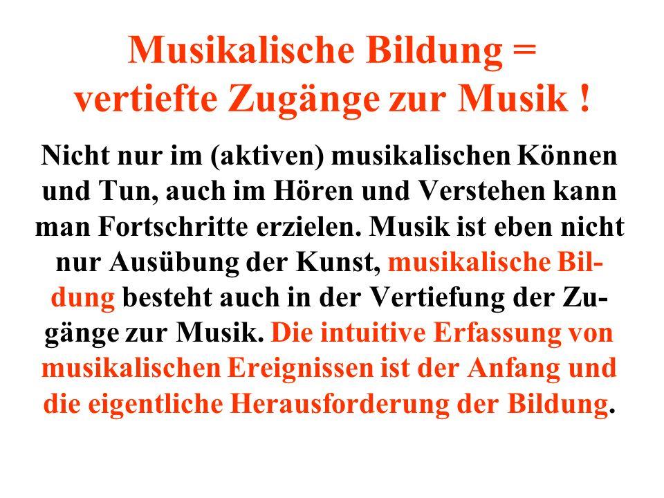 Musikalische Bildung = vertiefte Zugänge zur Musik !