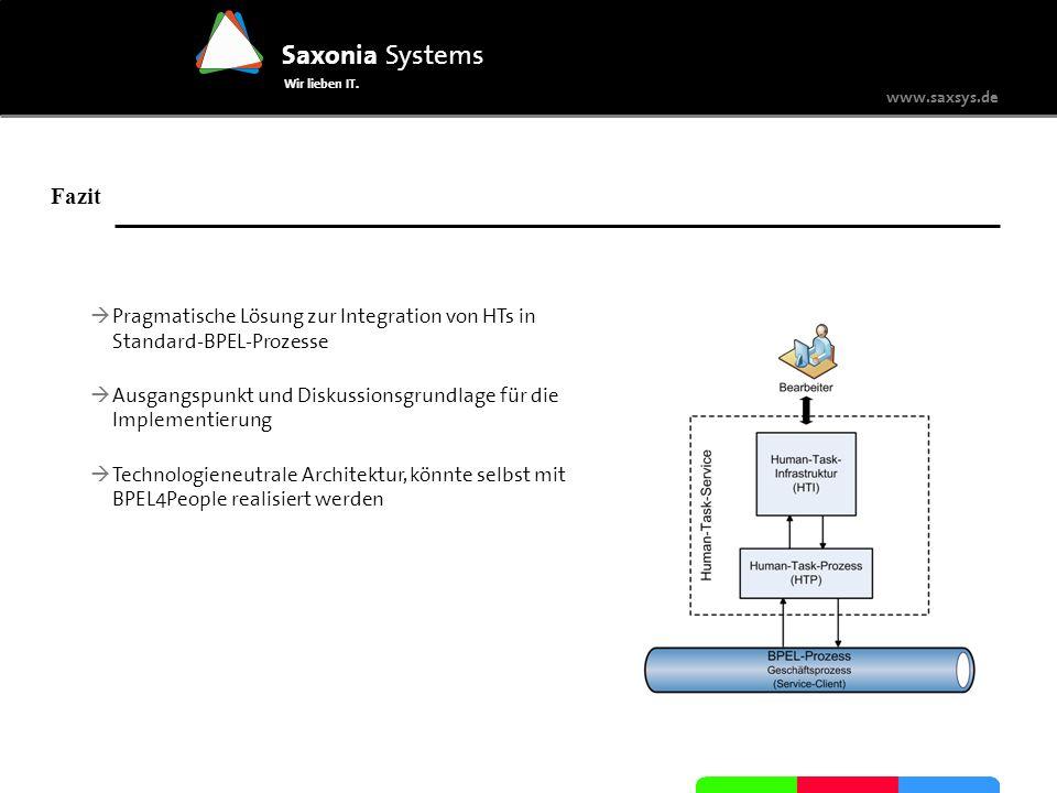 Fazit Pragmatische Lösung zur Integration von HTs in Standard-BPEL-Prozesse. Ausgangspunkt und Diskussionsgrundlage für die Implementierung.