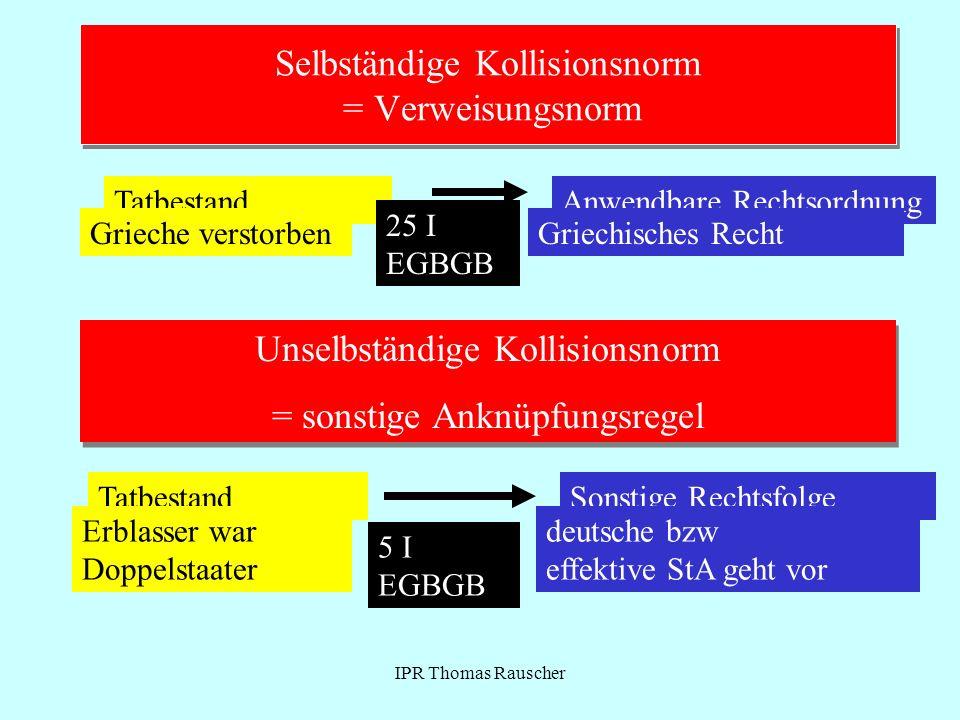Selbständige Kollisionsnorm = Verweisungsnorm