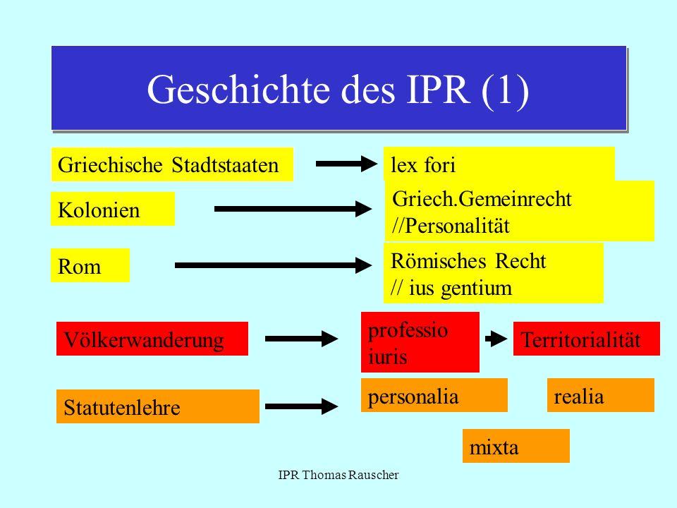 Geschichte des IPR (1) Griechische Stadtstaaten lex fori
