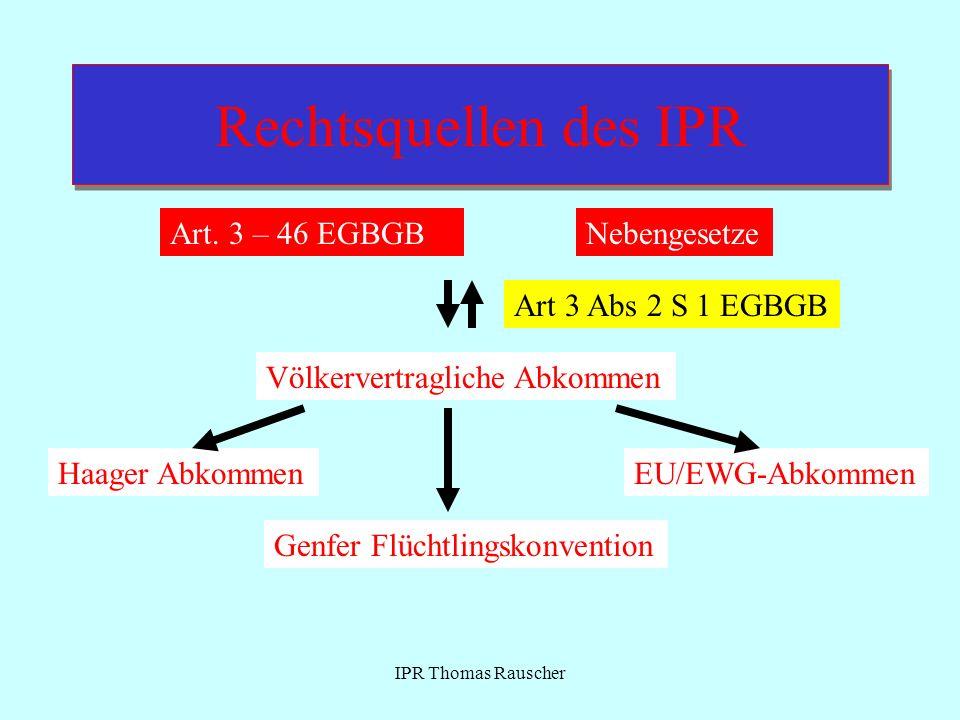 Rechtsquellen des IPR Art. 3 – 46 EGBGB Nebengesetze