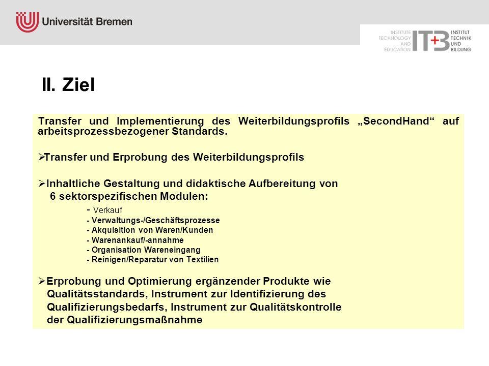 """II. Ziel Transfer und Implementierung des Weiterbildungsprofils """"SecondHand auf arbeitsprozessbezogener Standards."""