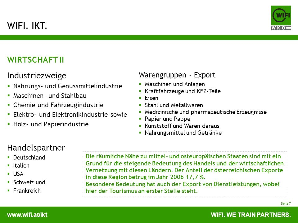 WIRTSCHAFT II Industriezweige Handelspartner Warengruppen - Export