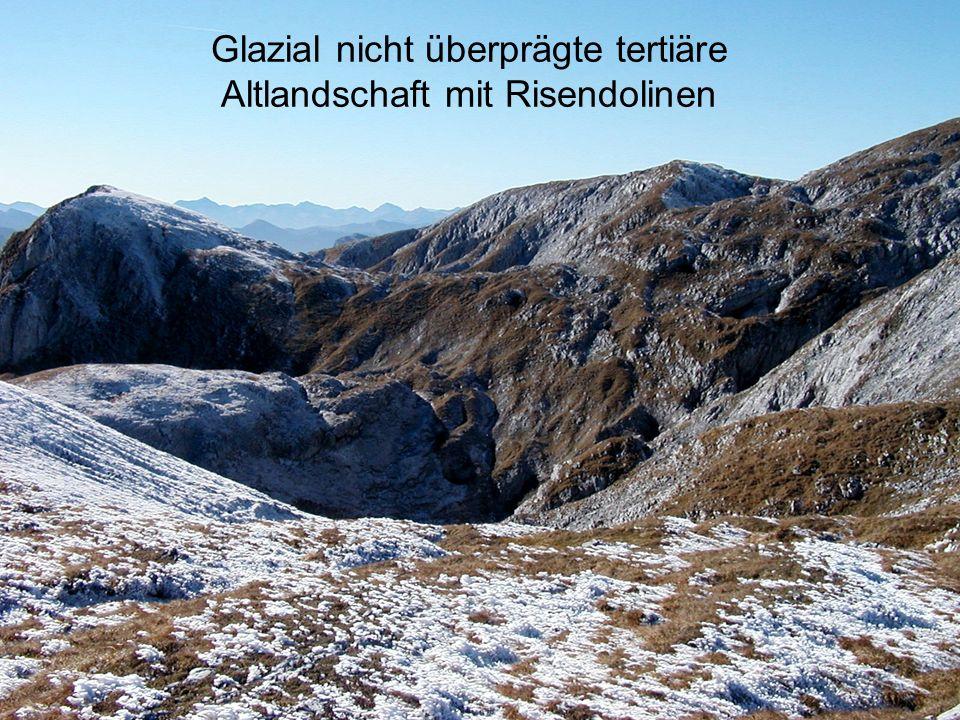 Glazial nicht überprägte tertiäre Altlandschaft mit Risendolinen