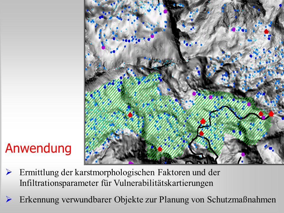 Anwendung Ermittlung der karstmorphologischen Faktoren und der Infiltrationsparameter für Vulnerabilitätskartierungen.