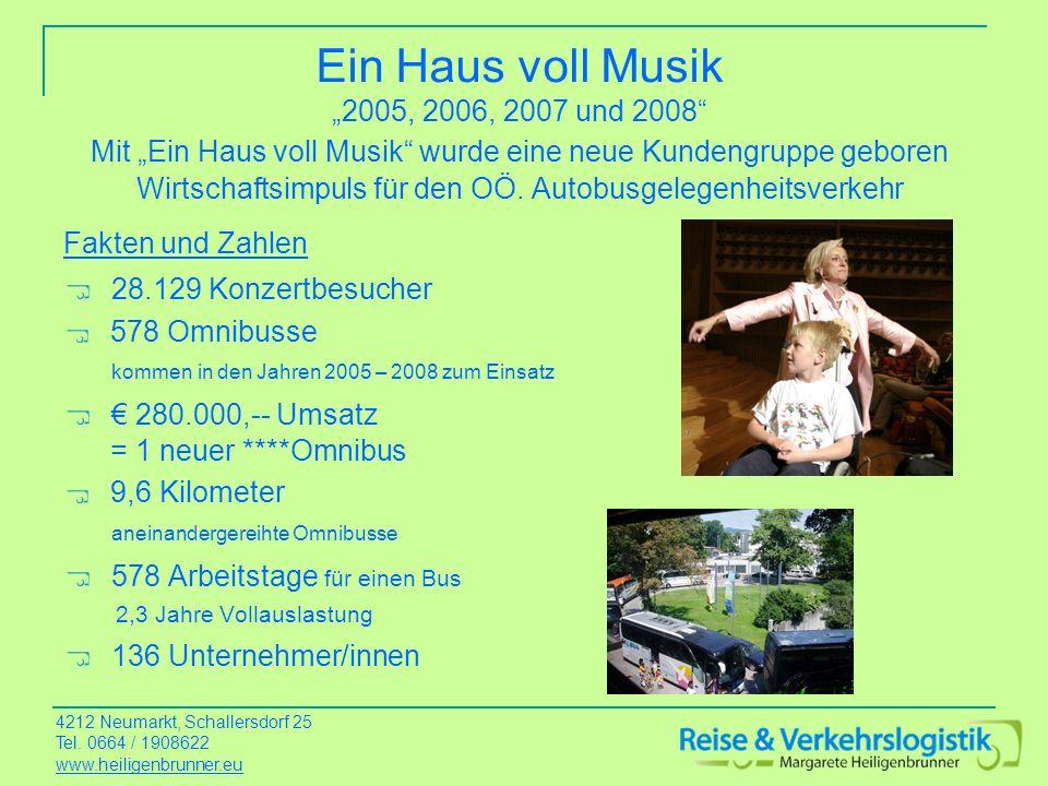 """Ein Haus voll Musik """"2005, 2006, 2007 und 2008 Mit """"Ein Haus voll Musik wurde eine neue Kundengruppe geboren Wirtschaftsimpuls für den OÖ. Autobusgelegenheitsverkehr"""