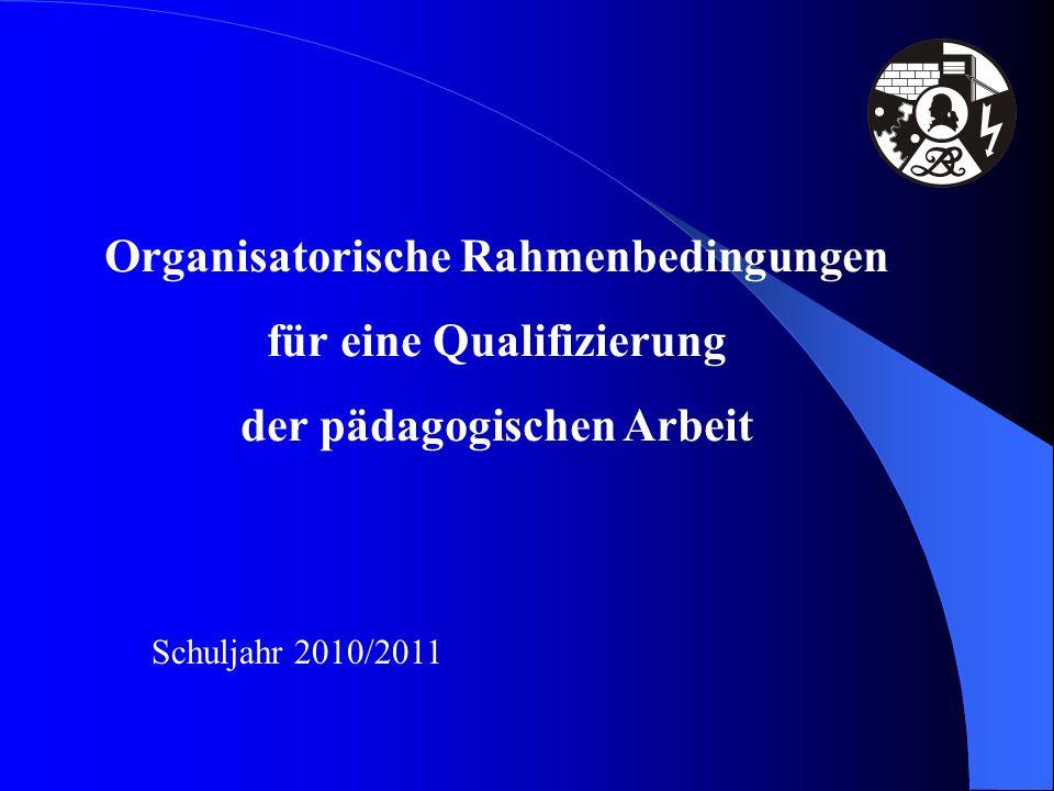 Organisatorische Rahmenbedingungen für eine Qualifizierung