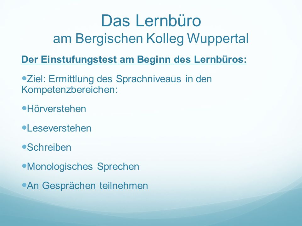 Das Lernbüro am Bergischen Kolleg Wuppertal