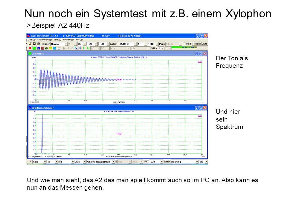 Nun noch ein Systemtest mit z.B. einem Xylophon ->Beispiel A2 440Hz