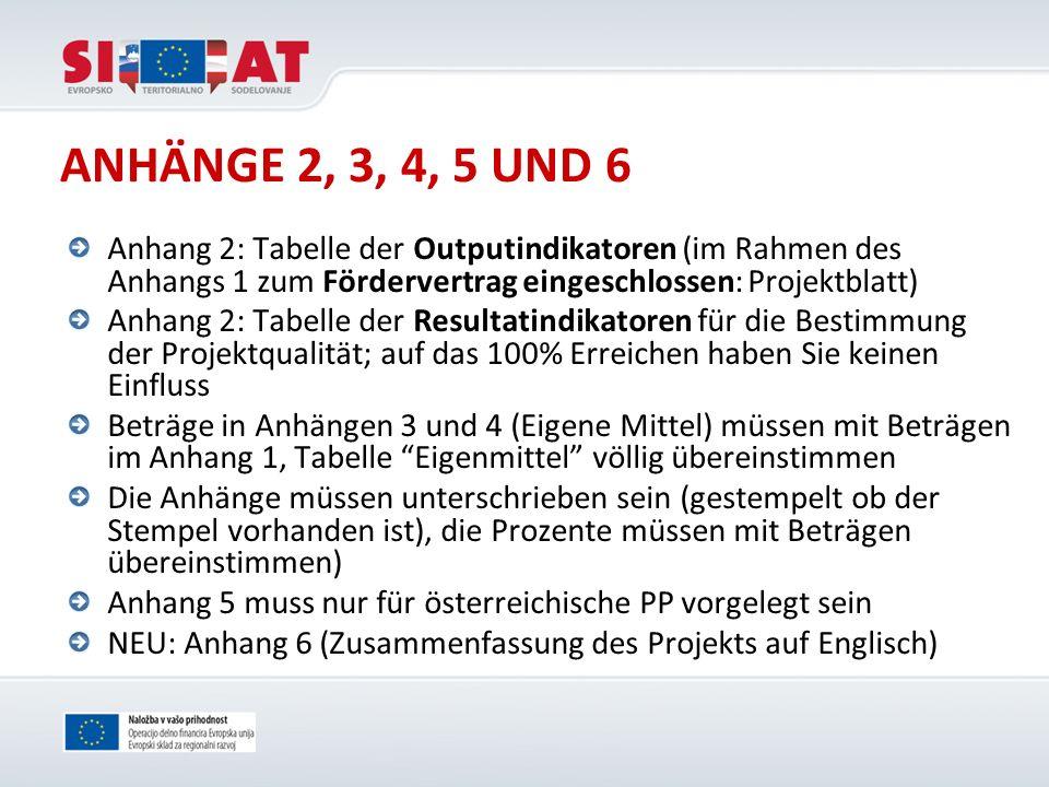 ANHÄNGE 2, 3, 4, 5 UND 6 Anhang 2: Tabelle der Outputindikatoren (im Rahmen des Anhangs 1 zum Fördervertrag eingeschlossen: Projektblatt)