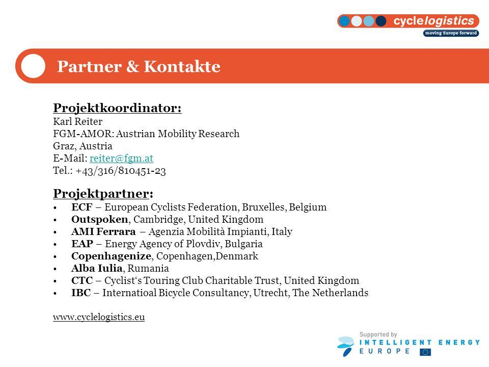 Partner & Kontakte Projektkoordinator: Projektpartner: Karl Reiter
