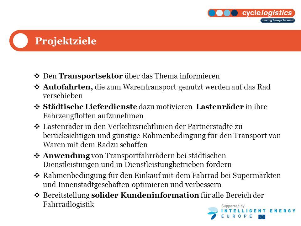 Projektziele Den Transportsektor über das Thema informieren