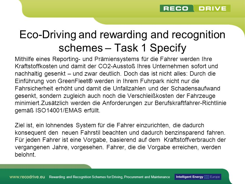 Eco-Driving and rewarding and recognition schemes – Task 1 Specify