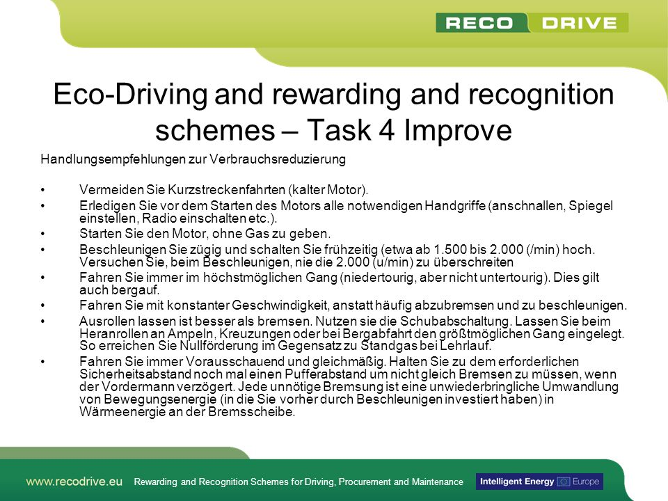Eco-Driving and rewarding and recognition schemes – Task 4 Improve