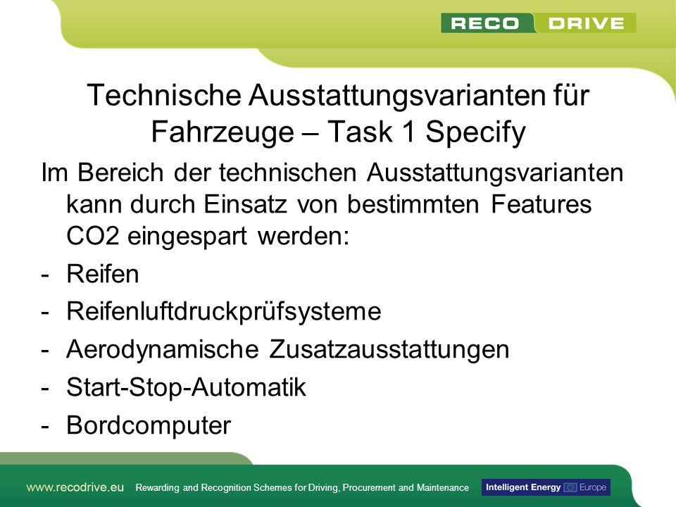 Technische Ausstattungsvarianten für Fahrzeuge – Task 1 Specify