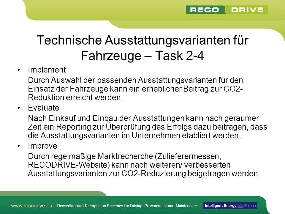 Technische Ausstattungsvarianten für Fahrzeuge – Task 2-4