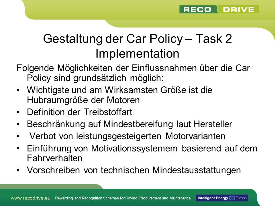 Gestaltung der Car Policy – Task 2 Implementation
