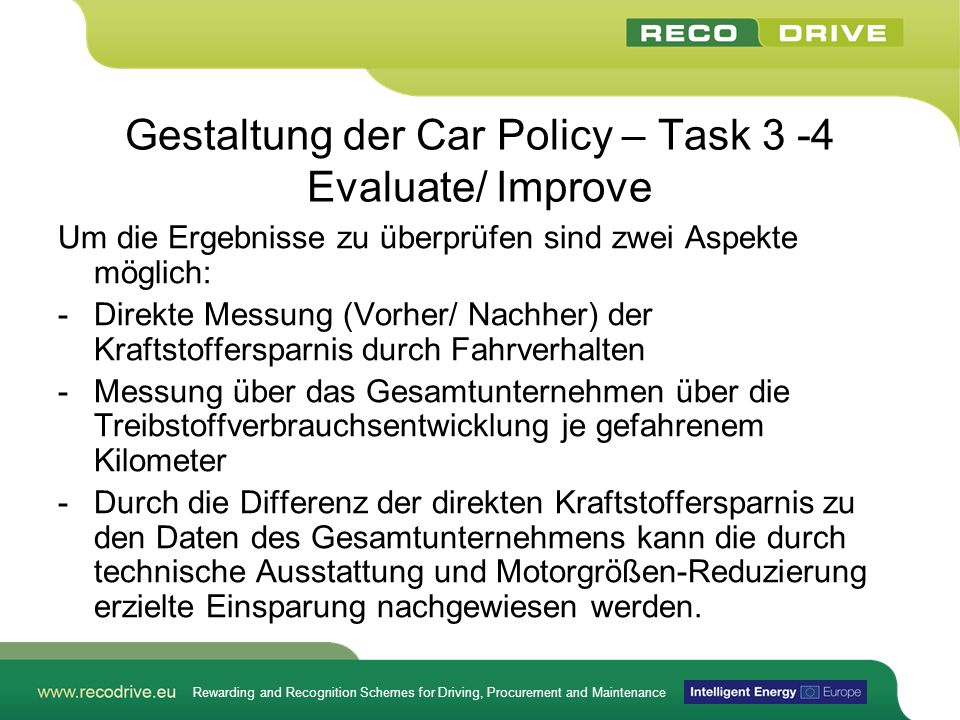 Gestaltung der Car Policy – Task 3 -4 Evaluate/ Improve