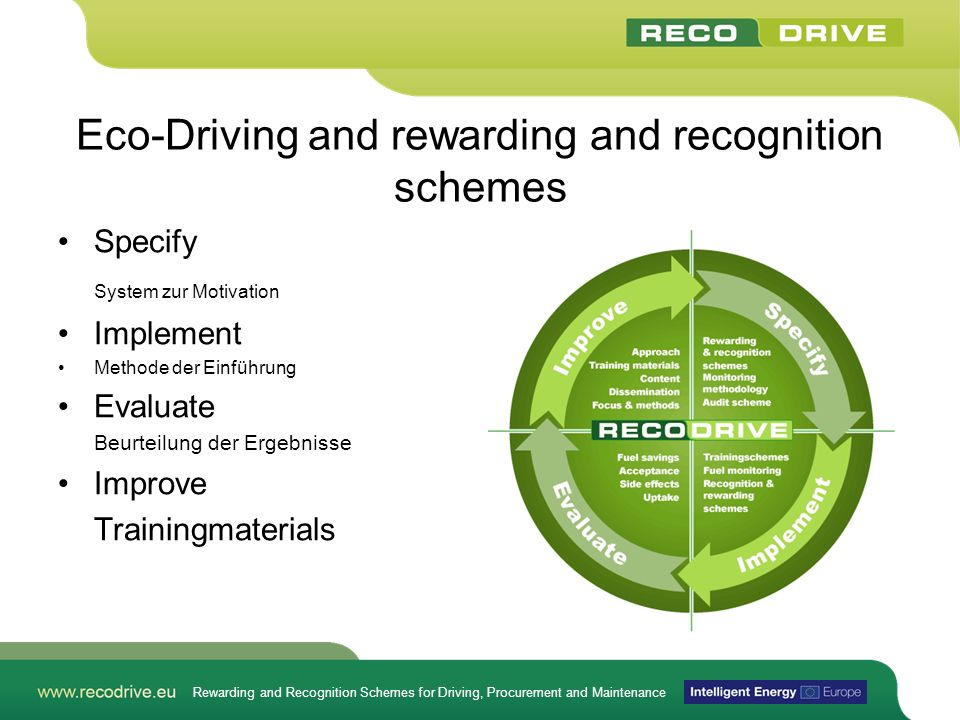 Eco-Driving and rewarding and recognition schemes