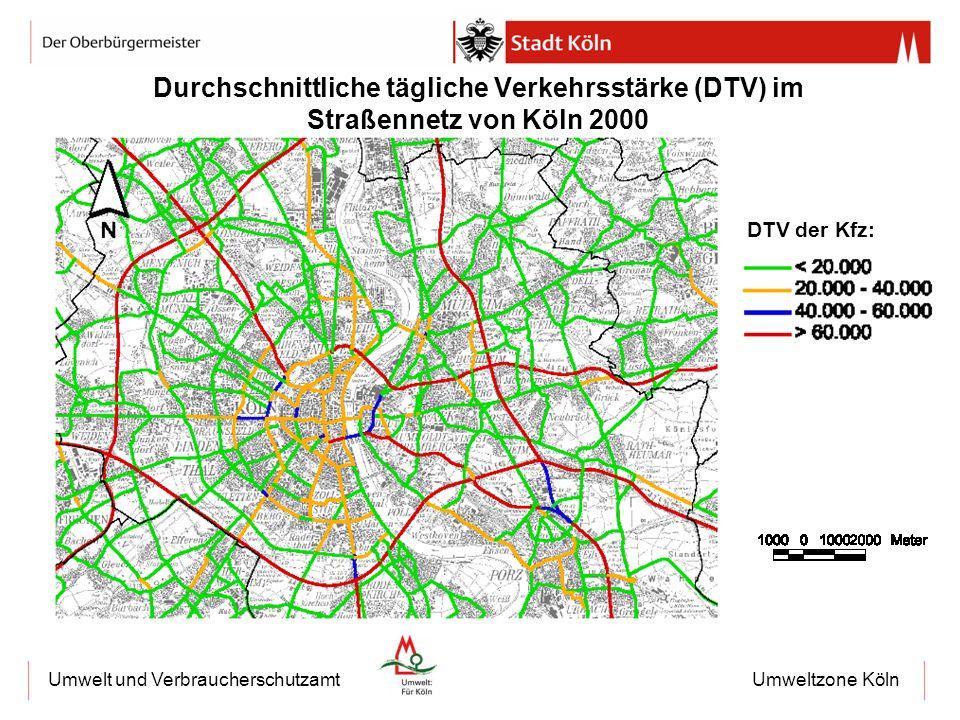 Durchschnittliche tägliche Verkehrsstärke (DTV) im Straßennetz von Köln 2000