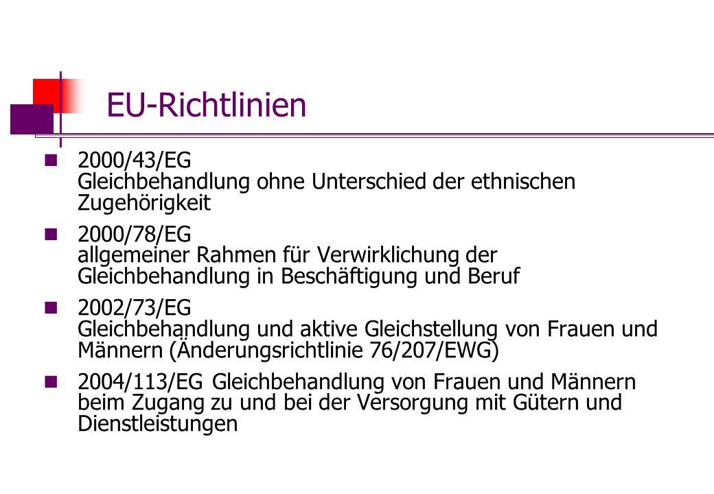 EU-Richtlinien 2000/43/EG Gleichbehandlung ohne Unterschied der ethnischen Zugehörigkeit.