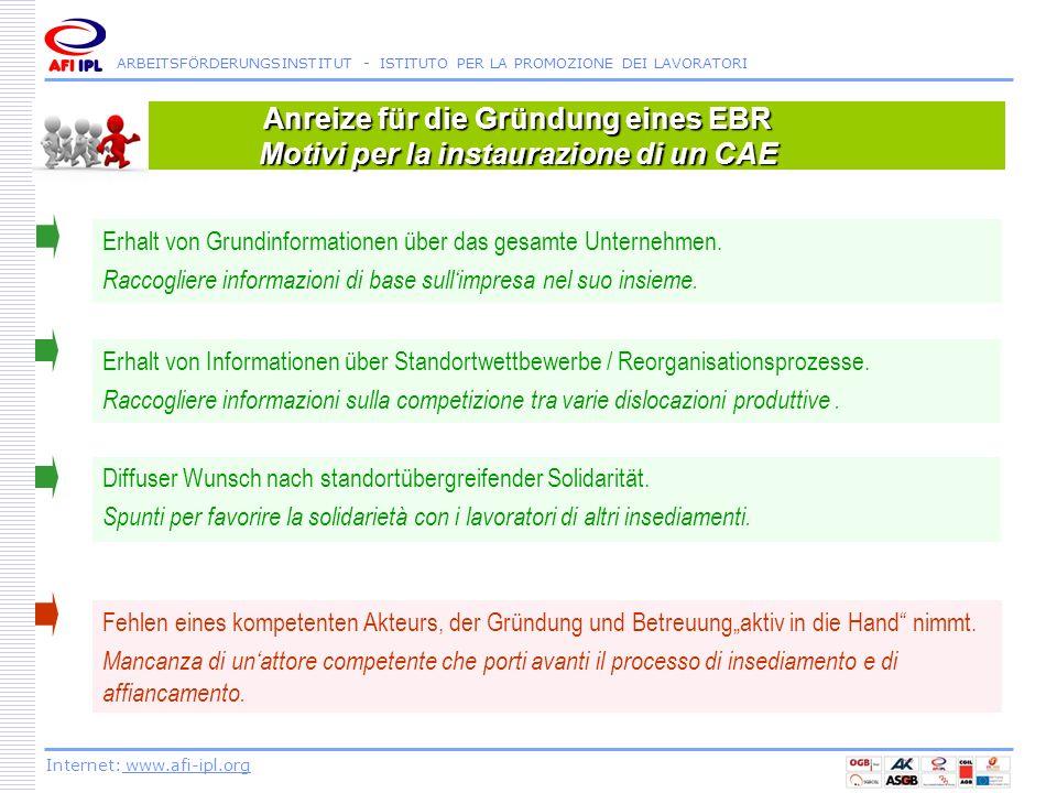 Anreize für die Gründung eines EBR Motivi per la instaurazione di un CAE