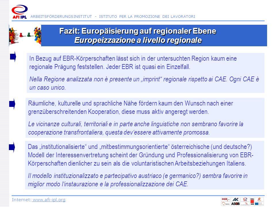 Fazit: Europäisierung auf regionaler Ebene Europeizzazione a livello regionale