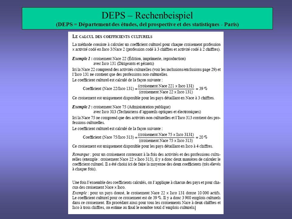 DEPS – Rechenbeispiel (DEPS = Département des études, del prospective et des statistiques - Paris)