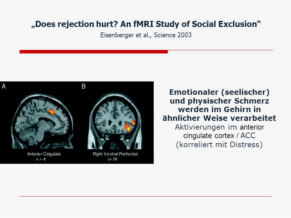 """Does rejection hurt An fMRI Study of Social Exclusion Eisenberger et al., Science 2003"