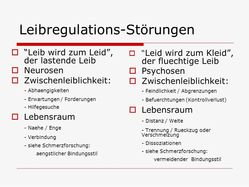 Leibregulations-Störungen