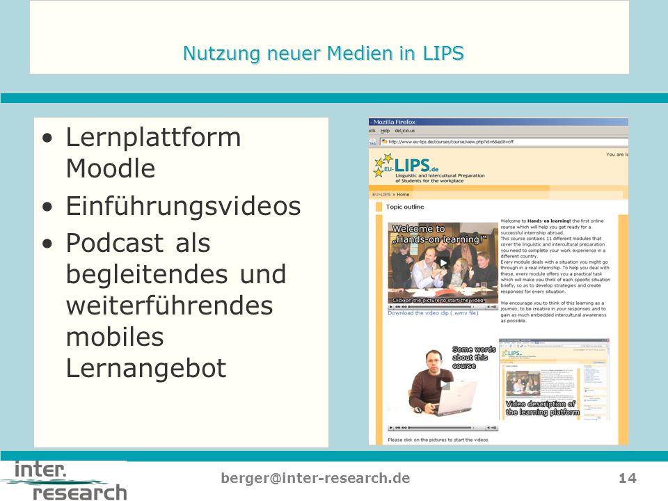 Nutzung neuer Medien in LIPS