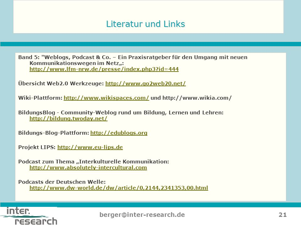 Literatur und Links berger@inter-research.de