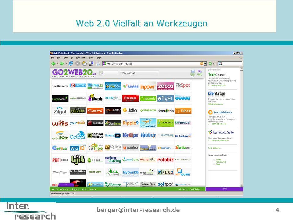 Web 2.0 Vielfalt an Werkzeugen