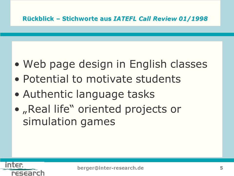 Rückblick – Stichworte aus IATEFL Call Review 01/1998