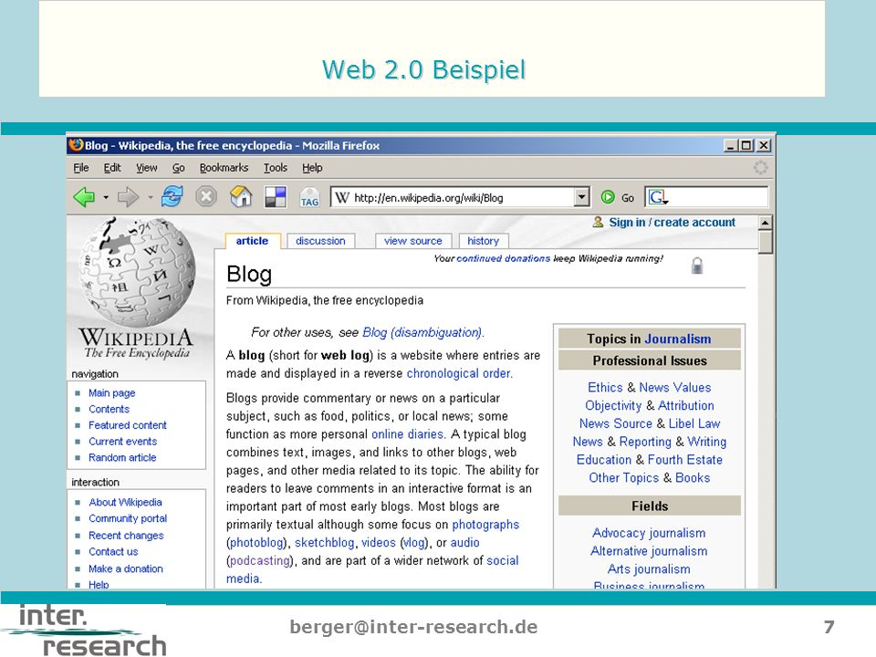 Web 2.0 Beispiel berger@inter-research.de
