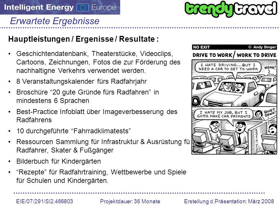 Erwartete Ergebnisse Hauptleistungen / Ergenisse / Resultate :
