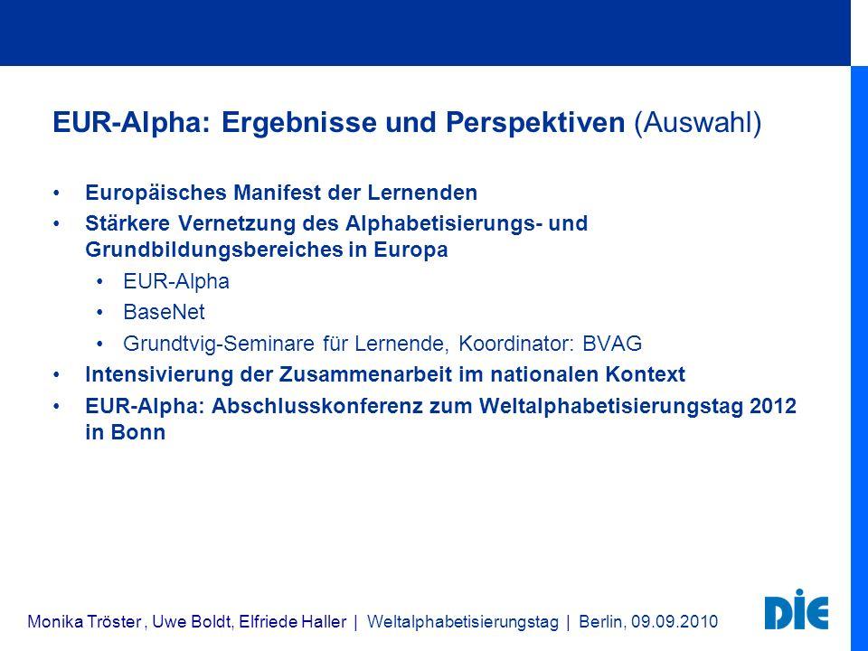 EUR-Alpha: Ergebnisse und Perspektiven (Auswahl)