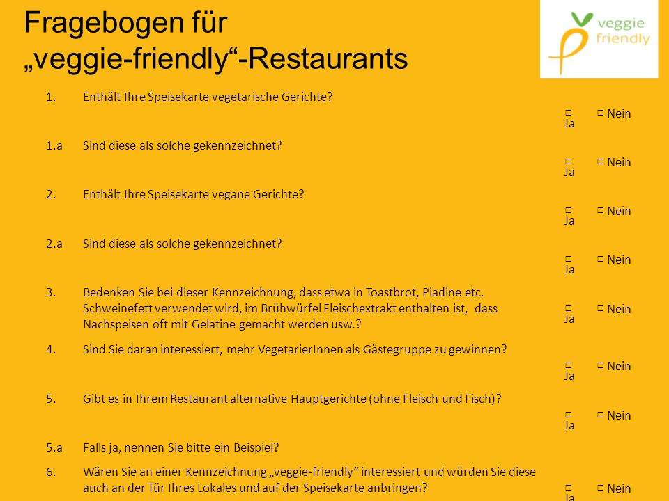 "Fragebogen für ""veggie-friendly -Restaurants"