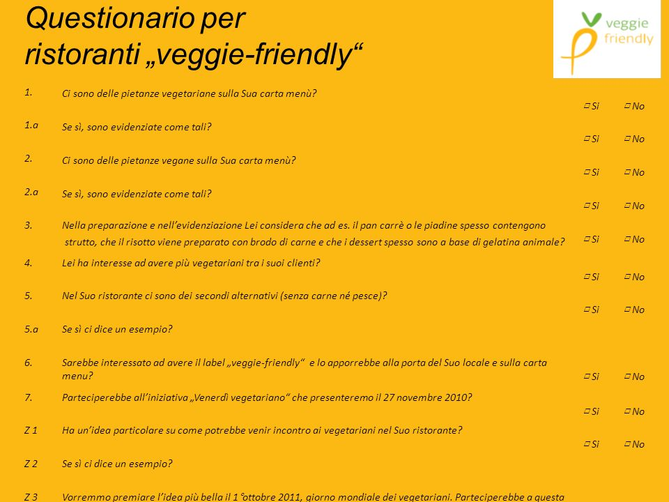 "Questionario per ristoranti ""veggie-friendly"