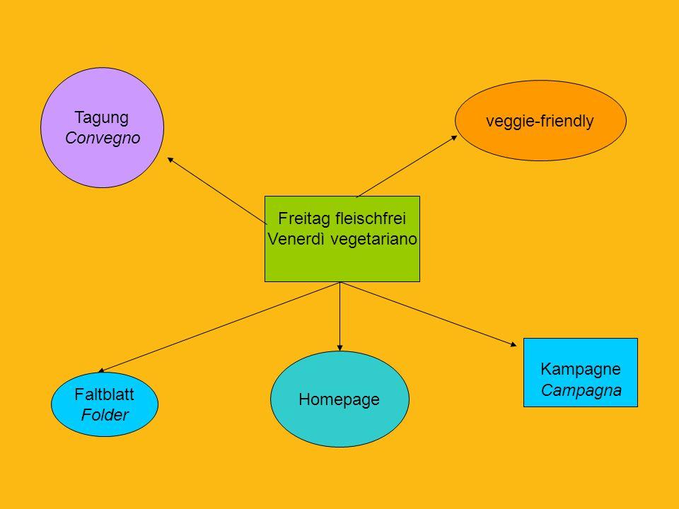 Tagung Convegno. veggie-friendly. Freitag fleischfrei. Venerdì vegetariano. Kampagne. Campagna.