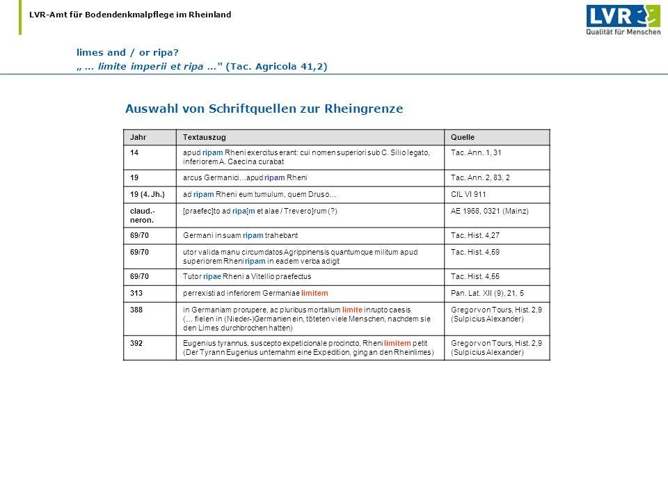 Auswahl von Schriftquellen zur Rheingrenze