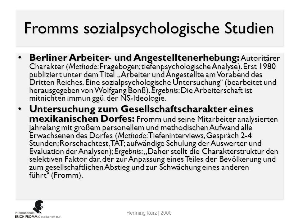 Fromms sozialpsychologische Studien