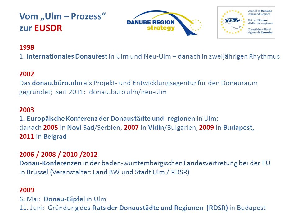 """Vom """"Ulm – Prozess zur EUSDR 1998"""