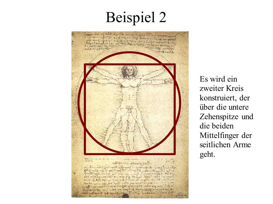 Beispiel 2Es wird ein zweiter Kreis konstruiert, der über die untere Zehenspitze und die beiden Mittelfinger der seitlichen Arme geht.
