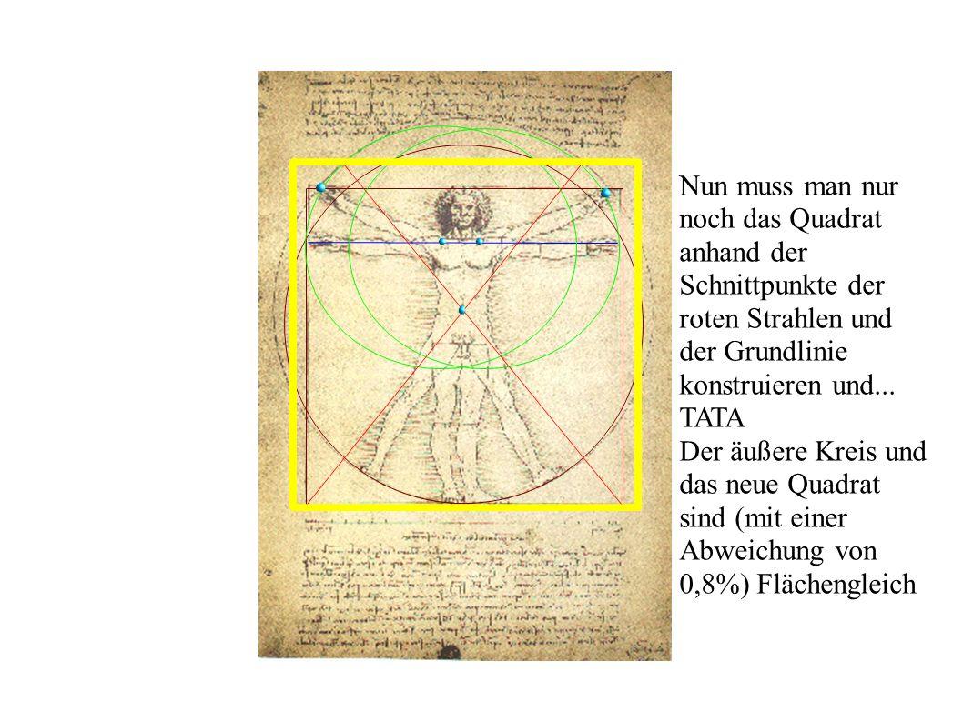 Nun muss man nur noch das Quadrat anhand der Schnittpunkte der roten Strahlen und der Grundlinie konstruieren und...