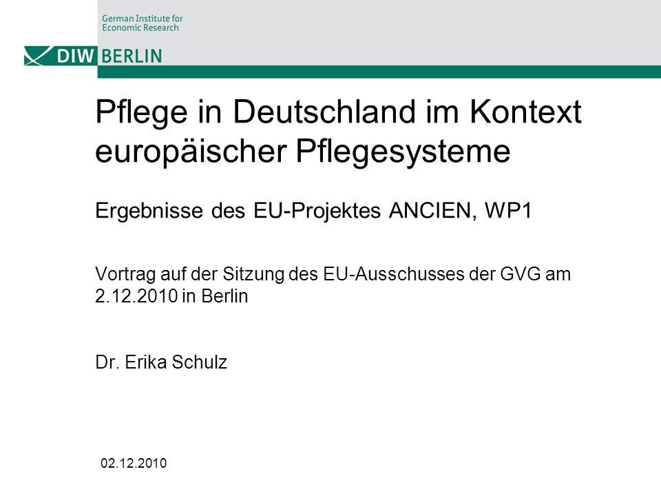 Pflege in Deutschland im Kontext europäischer Pflegesysteme Ergebnisse des EU-Projektes ANCIEN, WP1 Vortrag auf der Sitzung des EU-Ausschusses der GVG am 2.12.2010 in Berlin Dr. Erika Schulz